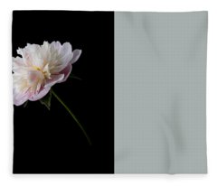 Pink And White Peony Fleece Blanket