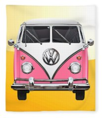 Pink And White Volkswagen T 1 Samba Bus On Yellow Fleece Blanket