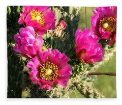 Pink Cactus Blooms Close-up Fleece Blanket