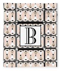 Pink Champagne Deco Monogram  B Fleece Blanket