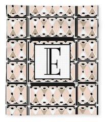 Pink Champagne Deco Monogram  E Fleece Blanket