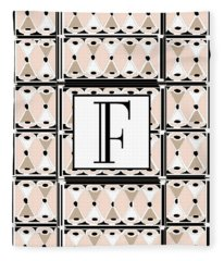 Pink Champagne Deco Monogram  F Fleece Blanket
