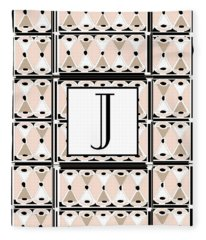 Pink Champagne Deco Monogram  J Fleece Blanket