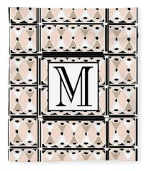 Pink Champagne Deco Monogram  M Fleece Blanket