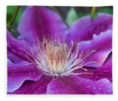 Pink Clematis Fleece Blanket