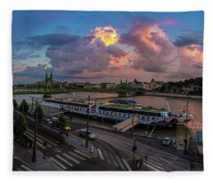 Pink Clouds Above The Danube, Budapest Fleece Blanket