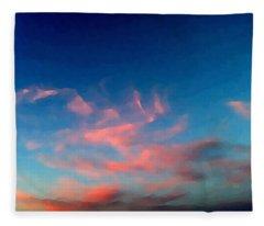 Pink Clouds Abstract Fleece Blanket