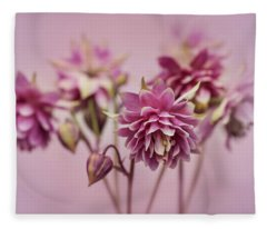 Pink Columbines Fleece Blanket