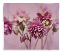 Pink Columbines Fleece Blanket