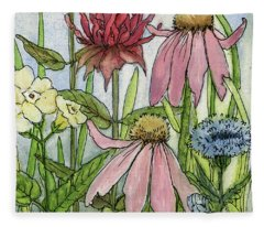 Pink Coneflower Fleece Blanket