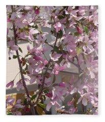 Pink Crabapple Branch Fleece Blanket
