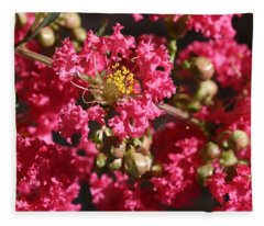 Pink Crepe Myrtle Flowers Fleece Blanket