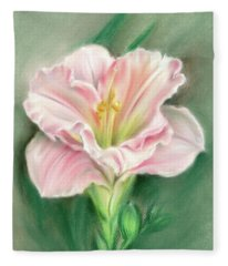 Pink Daylily And Green Buds Fleece Blanket