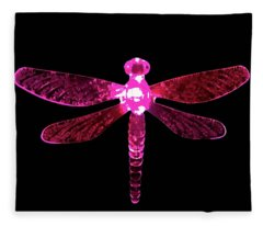 Pink Dragonfly Fleece Blanket