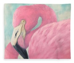Pink Flamingo V Fleece Blanket