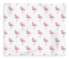 Pink Flamingo Watercolor Pattern Fleece Blanket