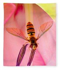 Pink Flower Fly Fleece Blanket