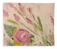 Pink Flower Garden Fleece Blanket