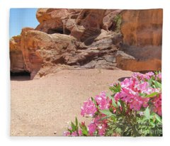 Pink Flowers At Petra Fleece Blanket