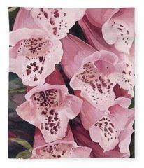 Pink Foxglove Fleece Blanket