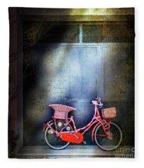 Pink Garage Bicycle Fleece Blanket