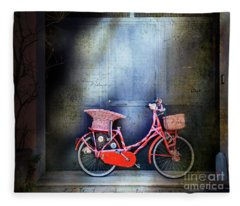 Pink Garage Bicycle Fleece Blanket