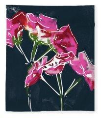 Pink Geraniums- Art By Linda Woods Fleece Blanket