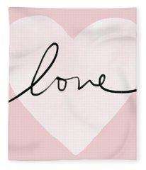 Pink Heart Love- Art By Linda Woods Fleece Blanket