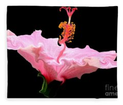 Pink Hibiscus With Curlicue Effect Fleece Blanket