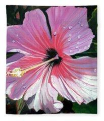 Pink Hibiscus With Raindrops Fleece Blanket