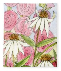 Pink Hollyhock And White Coneflowers Fleece Blanket