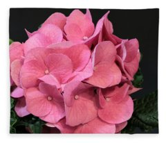 Pink Hydrangea Bloom Fleece Blanket