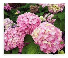Pink Hydrangeas Fleece Blanket
