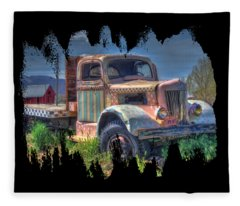 Classic Flatbed Truck In Pink Fleece Blanket