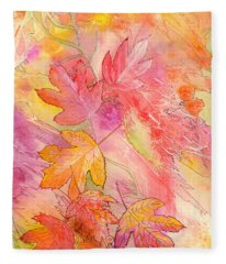Pink Leaves Fleece Blanket
