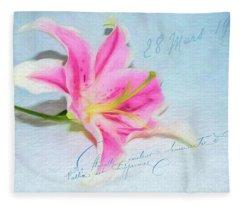 Pink Lily Fleece Blanket