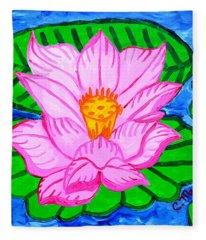 Pink Lotus Flower Fleece Blanket