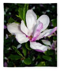 Pink Magnolia Blossom Fleece Blanket