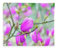 Pink Magnolia  Fleece Blanket
