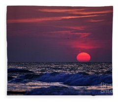 Pink Sun Fleece Blanket