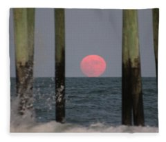 Pink Moon Rising Fleece Blanket