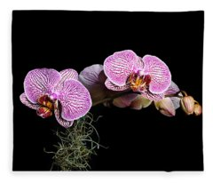 Pink Orchids Fleece Blanket