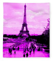 Pink Paris Fleece Blanket