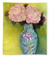 Pink Peonies In An Aqua Vase Fleece Blanket