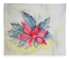 Pink Poinsetta On Blue Foliage Fleece Blanket