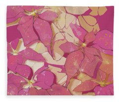 Pink Poinsettias Fleece Blanket