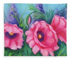 Pink Poppy Field Fleece Blanket