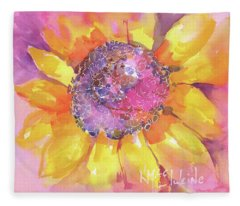 Pink Purple Yellow Sunflower  Fleece Blanket