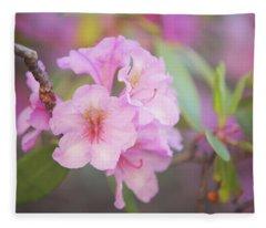 Pink Rhododendron Flowers Fleece Blanket