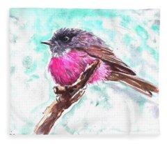 Pink Robin  Fleece Blanket